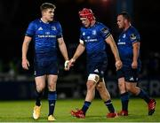 2 October 2020; Leinster players, from left, Garry Ringrose, Josh van der Flier and Ed Byrne during the Guinness PRO14 match between Leinster and Dragons at the RDS Arena in Dublin. Photo by Harry Murphy/Sportsfile