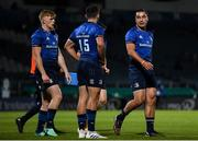2 October 2020; James Lowe of Leinster, right, speaks with Hugo Keenan and Tommy O'Brien during the Guinness PRO14 match between Leinster and Dragons at the RDS Arena in Dublin. Photo by Harry Murphy/Sportsfile