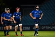 2 October 2020; Leinster players, from right, Scott Fardy, Josh van der Flier, Jordan Larmour and Michael Bent during the Guinness PRO14 match between Leinster and Dragons at the RDS Arena in Dublin. Photo by Harry Murphy/Sportsfile