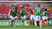 3 October 2020; Gearóid Morrissey of Cork City, second from left, celebrates with team-mates, Ricardo Dinanga, left, and Kevin O'Connor after scoring his side's first goal during the SSE Airtricity League Premier Division match between Cork City and St. Patrick's Athletic at Turners Cross in Cork. Photo by Sam Barnes/Sportsfile