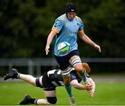 3 October 2020; Cian Reilly of UCD is tackled by Michael Stapleton of Old Belvedere during the Energia Community Series Leinster Conference 1 match between UCD and Old Belvedere at UCD Bowl in Belfield, Dublin. Photo by Harry Murphy/Sportsfile