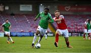 3 October 2020; Deshane Dalling of Cork City in action against Jamie Lennon of St Patrick's Athletic during the SSE Airtricity League Premier Division match between Cork City and St. Patrick's Athletic at Turners Cross in Cork. Photo by Sam Barnes/Sportsfile