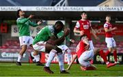 3 October 2020; Joseph Olowu of Cork City reacts to a missed chance during the SSE Airtricity League Premier Division match between Cork City and St. Patrick's Athletic at Turners Cross in Cork. Photo by Sam Barnes/Sportsfile