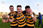 3 October 2020; Crosserlough players from left Ryan Galligan, Shane McVeety and James Smith celebrate after the Cavan County Senior Football Championship Final Replay match between Crosserlough and Kingscourt at Kingspan Breffni in Cavan. Photo by Matt Browne/Sportsfile