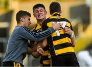 3 October 2020; James Smith of Crosserlough, centre, is congratulated by team-mates Ben Kelly-Flynn, left, and Ryan Galligan after the Cavan County Senior Football Championship Final Replay match between Crosserlough and Kingscourt at Kingspan Breffni in Cavan. Photo by Matt Browne/Sportsfile
