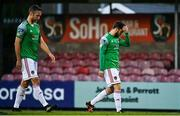 3 October 2020; Cory Galvin, right, and Alan Bennett of Cork City leave the field dejected following the SSE Airtricity League Premier Division match between Cork City and St. Patrick's Athletic at Turners Cross in Cork. Photo by Sam Barnes/Sportsfile
