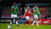 3 October 2020; Joseph Olowu, left, and Gearóid Morrissey of Cork City leave the field dejected following during the SSE Airtricity League Premier Division match between Cork City and St. Patrick's Athletic at Turners Cross in Cork. Photo by Sam Barnes/Sportsfile