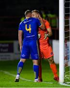 3 October 2020; Bohemians goalkeeper James Talbot is congratulated by team-mate Dan Casey, 4, after saving a penalty during the SSE Airtricity League Premier Division match between Shelbourne and Bohemians at Tolka Park in Dublin. Photo by Stephen McCarthy/Sportsfile