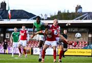 3 October 2020; Joseph Olowu of Cork City in action against Jamie Lennon, centre, and Georgie Kelly of St Patrick's Athletic during the SSE Airtricity League Premier Division match between Cork City and St. Patrick's Athletic at Turners Cross in Cork. Photo by Sam Barnes/Sportsfile