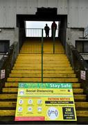 4 October 2020; A view of COVID-19 signage prior to the Meath County Senior Football Championship Final match between Ratoath and Gaeil Colmcille at Páirc Táilteann in Navan, Meath. Photo by Brendan Moran/Sportsfile