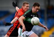 4 October 2020; Paul Kerrigan of Nemo Rangers in action against John McLoughlin of Duhallow during the Cork County Premier Senior Football Championship Semi-Final match between Nemo Rangers and Duhallow at Páirc Ui Rinn in Cork. Photo by Sam Barnes/Sportsfile