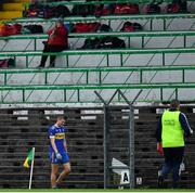 4 October 2020; Gavin McGowan of Ratoath leaves the pitch after receiving a black card during the Meath County Senior Football Championship Final match between Ratoath and Gaeil Colmcille at Páirc Táilteann in Navan, Meath. Photo by Brendan Moran/Sportsfile