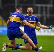 4 October 2020; Gavin McGowan, 6, celebrates with Ratoath team-mate Andrew Gerrard at the final whistle of the Meath County Senior Football Championship Final match between Ratoath and Gaeil Colmcille at Páirc Táilteann in Navan, Meath. Photo by Brendan Moran/Sportsfile