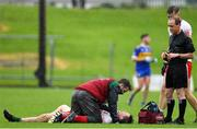 4 October 2020; Conal Courtney of Gaeil Colmcille receives medical attention following a collision with Emmett Boyle of Ratoath, which resulted in a red card, during the Meath County Senior Football Championship Final match between Ratoath and Gaeil Colmcille at Páirc Táilteann in Navan, Meath. Photo by Brendan Moran/Sportsfile