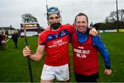 4 October 2020; St Thomas' captain Conor Cooney and manager Kevin Lally celebrate following the Galway County Senior Hurling Championship Final match between Turloughmore and St Thomas at Kenny Park in Athenry, Galway. Photo by David Fitzgerald/Sportsfile