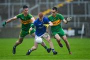 4 October 2020; Ciarán Egan of Tullamore in action against Conor McNamee, left, and Ciarán Heavey of Rhode during the Offaly County Senior Football Championship Final match between Rhode and Tullamore at Bord na Móna O'Connor Park in Tullamore, Offaly. Photo by Piaras Ó Mídheach/Sportsfile