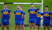 4 October 2020; Members of the Ratoath team stand for a minute's silence in memory of the 14 victims of Bloody Sunday in 1920, who's names were all read out, prior to the Meath County Senior Football Championship Final match between Ratoath and Gaeil Colmcille at Páirc Táilteann in Navan, Meath. Photo by Brendan Moran/Sportsfile