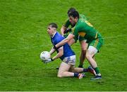 4 October 2020; Nigel Bracken of Tullamore in action against Eoin Rigney, and Gareth McNamee, behind, of Rhode during the Offaly County Senior Football Championship Final match between Rhode and Tullamore at Bord na Móna O'Connor Park in Tullamore, Offaly. Photo by Piaras Ó Mídheach/Sportsfile
