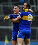 4 October 2020; Ratoath players Andrew Gerrard, left, and Darragh Kelly celebrate at the final whistle of the Meath County Senior Football Championship Final match between Ratoath and Gaeil Colmcille at Páirc Táilteann in Navan, Meath. Photo by Brendan Moran/Sportsfile