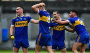 4 October 2020; Ratoath players, from left, Andrew Gerrard, Ben McGowan, Bryan McMahon and Connell Ahearne celebrate at the final whistle of the Meath County Senior Football Championship Final match between Ratoath and Gaeil Colmcille at Páirc Táilteann in Navan, Meath. Photo by Brendan Moran/Sportsfile