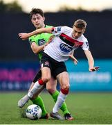 4 October 2020; Daniel Kelly of Dundalk is fouled by Karl O'Sullivan of Finn Harps during the SSE Airtricity League Premier Division match between Dundalk and Finn Harps at Oriel Park in Dundalk, Louth. Photo by Harry Murphy/Sportsfile