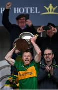 4 October 2020; Rhode captain Niall Darby lifts the Dowling Cup after the Offaly County Senior Football Championship Final match between Rhode and Tullamore at Bord na Móna O'Connor Park in Tullamore, Offaly. Photo by Piaras Ó Mídheach/Sportsfile