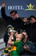 4 October 2020; Rhode captain Niall Darby kisses the Dowling Cup after the Offaly County Senior Football Championship Final match between Rhode and Tullamore at Bord na Móna O'Connor Park in Tullamore, Offaly. Photo by Piaras Ó Mídheach/Sportsfile