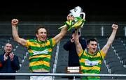 4 October 2020; Michael O'Halloran, left, and Cathal McCormack of Blackrock lift the Sean Óg Murphy Cup following the Cork County Premier Senior Club Hurling Championship Final match between Glen Rovers and Blackrock at Páirc Ui Chaoimh in Cork. Photo by Sam Barnes/Sportsfile