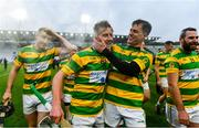 4 October 2020; Blackrock players, from left, Gary Norberg, Robbie Cotter, Cathal McCormack, and Eoin Smith celebrate following the Cork County Premier Senior Club Hurling Championship Final match between Glen Rovers and Blackrock at Páirc Ui Chaoimh in Cork. Photo by Sam Barnes/Sportsfile