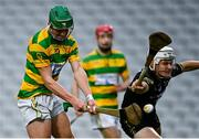 4 October 2020; Robbie Cotter of Blackrock shoots to score his side's fourth goal depsite the efforts of Adam Lynch of Glen Rovers during the Cork County Premier Senior Club Hurling Championship Final match between Glen Rovers and Blackrock at Páirc Ui Chaoimh in Cork. Photo by Sam Barnes/Sportsfile