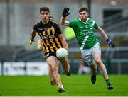 4 October 2020; Michael Daly of Mountbellew-Moylough in action against Tomás Ó Cleireach of Moycullen during the Galway County Senior Football Championship Final match between Moycullen and Mountbellew-Moylough at Pearse Stadium in Galway. Photo by Seb Daly/Sportsfile