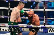 4 October 2020; Niall Kennedy, left, and Alen Babic during their heavyweight bout at the Marshall Arena in Milton Keynes, England. Photo by Mark Robinson / Matchroom Boxing via Sportsfile