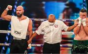 4 October 2020; Alen Babic, left, and Niall Kennedy following their heavyweight bout at the Marshall Arena in Milton Keynes, England. Photo by Mark Robinson / Matchroom Boxing via Sportsfile