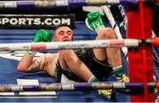 4 October 2020; Niall Kennedy recovers from a knock down during his heavyweight bout against Alen Babic at the Marshall Arena in Milton Keynes, England. Photo by Mark Robinson / Matchroom Boxing via Sportsfile