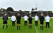 4 October 2020; Referee David Coldrick with his match officials Stephen Dawson, Kieran Olwell and Cormac Reilly and umpires Ronan Garry, Stephen O'Hare, Pat Darby and Joseph Curran socially distanced prior to the Meath County Senior Football Championship Final match between Ratoath and Gaeil Colmcille at Páirc Táilteann in Navan, Meath. Photo by Brendan Moran/Sportsfile