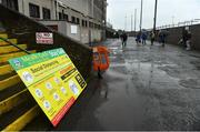 4 October 2020; Social distancing signage is seen prior to the Meath County Senior Football Championship Final match between Ratoath and Gaeil Colmcille at Páirc Táilteann in Navan, Meath. Photo by Brendan Moran/Sportsfile