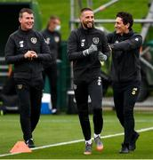5 October 2020; Conor Hourihane with Republic of Ireland coach Keith Andrews, right, and Republic of Ireland manager Stephen Kenny, left, during a Republic of Ireland training session at the FAI National Training Centre in Abbotstown, Dublin. Photo by Stephen McCarthy/Sportsfile