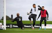 5 October 2020; Adam Idah, centre, with Darren Randolph, left, and Matt Doherty, right, during a Republic of Ireland training session at the FAI National Training Centre in Abbotstown, Dublin. Photo by Stephen McCarthy/Sportsfile