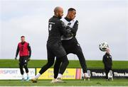 5 October 2020; Darren Randolph and Adam Idah, right, during a Republic of Ireland training session at the FAI National Training Centre in Abbotstown, Dublin. Photo by Stephen McCarthy/Sportsfile