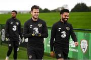 5 October 2020; Kevin Long and Derrick Williams, right, during a Republic of Ireland training session at the FAI National Training Centre in Abbotstown, Dublin. Photo by Stephen McCarthy/Sportsfile