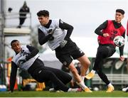 5 October 2020; Players, from left, Adam Idah, Robbie Brady and Callum O'Dowda during a Republic of Ireland training session at the FAI National Training Centre in Abbotstown, Dublin. Photo by Stephen McCarthy/Sportsfile
