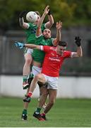 3 October 2020; Brian Maher of Athy in action against Adam Tyrell, behind, and Kevin Murnaghan of Moorefield during the Kildare County Senior Football Championship Final match between Moorefield and Athy at St Conleth's Park in Newbridge, Kildare. Photo by Piaras Ó Mídheach/Sportsfile