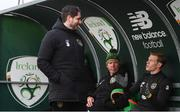 5 October 2020; James McClean, right, speaking with Ruaidhri Higgins and Alan Kelly during a Republic of Ireland training session at the FAI National Training Centre in Abbotstown, Dublin. Photo by Stephen McCarthy/Sportsfile