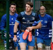6 October 2020; Ryan Baird is followed by James Ryan, left, and Devin Toner on arrival at Leinster Rugby squad training at UCD in Dublin. Photo by Brendan Moran/Sportsfile