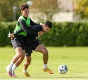 6 October 2020; Neil Farrugia and Danny McNamara during a Republic of Ireland U21's training session at Johnstown House in Meath. Photo by Matt Browne/Sportsfile