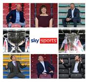 7 October 2020; (EDITOR'S NOTE: Image has been edited to make a composite) Sky Sports GAA analysts, clockwise from bottom left, Jamesie O'Connor, Peter Canavan, Kieran Donaghy, JJ Delaney and Ollie Canning with Sky Sports GAA Presenter Gráinne McElwain and the Sam Maguire and Liam MacCarthy Cups. Sky will open its coverage to more GAA fans by airing ALL of its 14 GAA Championship fixtures live on Sky Sports Mix, a channel more widely available to all Sky customers and on other TV platforms. It means that even those that do not have a Sky Sports subscription will be able to watch the games. Sky Sports Mix is available in approximately 900,000 homes in Ireland on Sky Channel 416 and Virgin Media channel 409. Photo by Brendan Moran/Sportsfile
