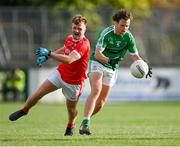 3 October 2020; Ian Meehan of Moorefield in action against Darren Lawler of Athy during the Kildare County Senior Football Championship Final match between Moorefield and Athy at St Conleth's Park in Newbridge, Kildare. Photo by Piaras Ó Mídheach/Sportsfile