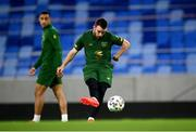 7 October 2020; Aaron Connolly, right, and Adam Idah during a Republic of Ireland training session at Tehelné pole in Bratislava, Slovakia. Photo by Stephen McCarthy/Sportsfile