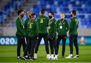 8 October 2020; Republic of Ireland players, including Alan Browne, centre, and Derrick Williams, far left, inspect the pitch ahead of the UEFA EURO2020 Qualifying Play-Off Semi-Final match between Slovakia and Republic of Ireland at Tehelné pole in Bratislava, Slovakia. Photo by Stephen McCarthy/Sportsfile