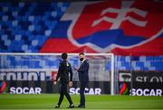 8 October 2020; Republic of Ireland manager Stephen Kenny, right, and coach Keith Andrews ahead of the UEFA EURO2020 Qualifying Play-Off Semi-Final match between Slovakia and Republic of Ireland at Tehelné pole in Bratislava, Slovakia. Photo by Stephen McCarthy/Sportsfile